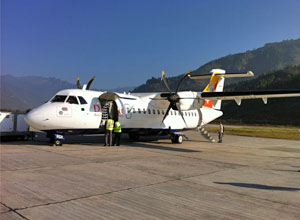 Flying out of Paro
