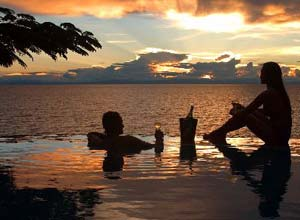 Sunset drinks on holiday at Kaya Mawa, Lake Malawi