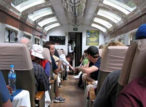 In the Vistadome train to Machu Picchu