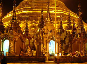 Yangon temple at night