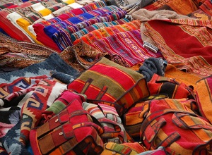 Colourful textiles at the market