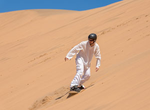 Sand boarding near Swakopmund