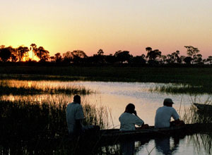 Sunset from a mokoro in the Okavango Delta